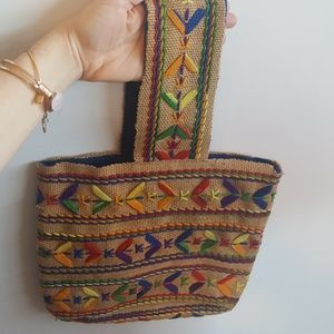 Vintage Woven Purse Handbag Rainbow Detail